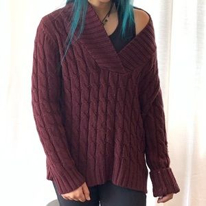 Cabella's - maroon cable knit v neck sweater